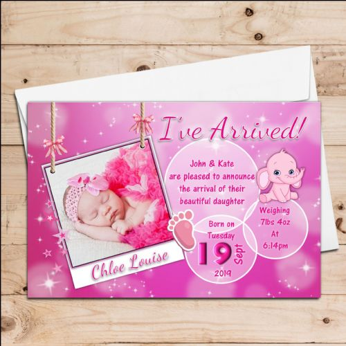 10 Personalised Baby Girl Pink Sparkle Birth Announcement Thank You PHOTO cards N118